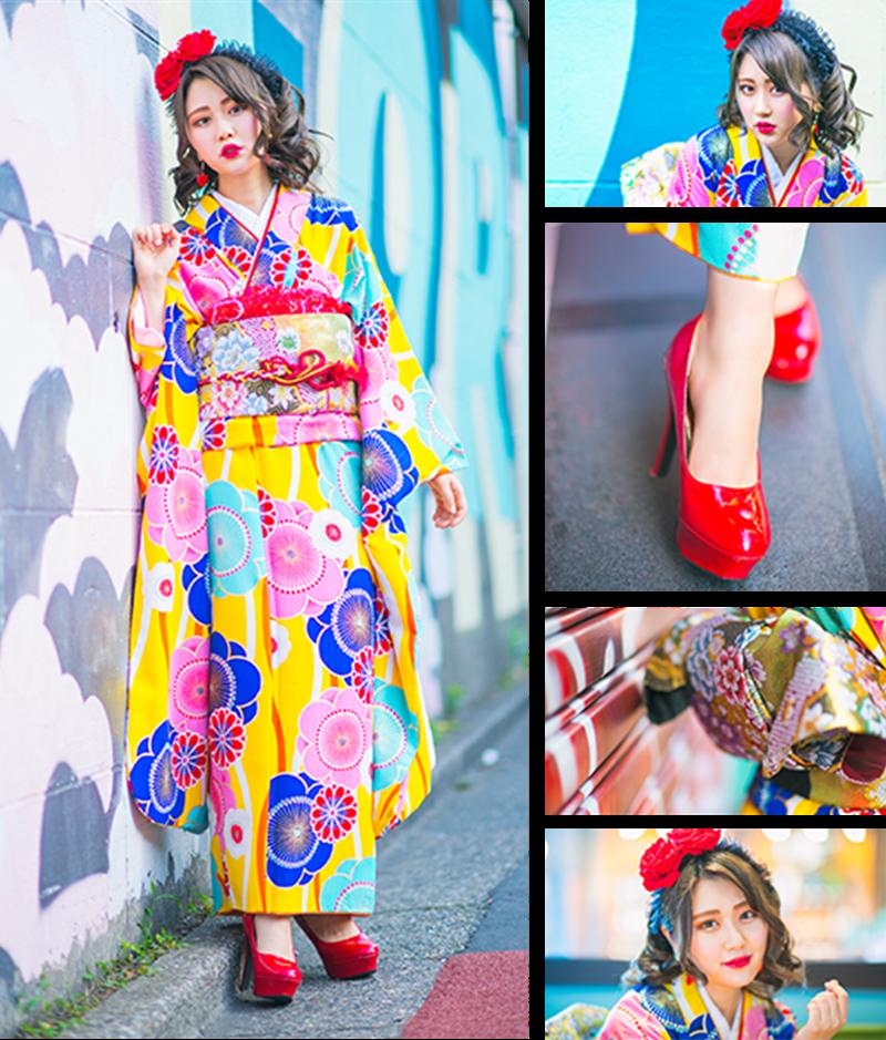 黄色と赤いピンヒール イメージ